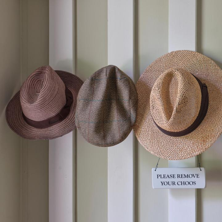 Hat rack at Knapp House Self Catering Lodges in Devon